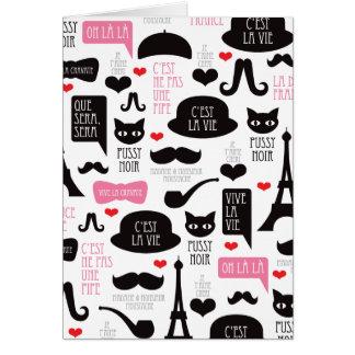 Paris mustache invitation card