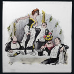 "Paris Nightlife no.6 Napkin<br><div class=""desc"">1900 print depicting three French men enjoying the company of a couple French ladies. One gent pouring Champagne into his top hat,  another has fallen asleep at the table. I have a total of six different Parisian nightlife scenes within my Zazzle store.</div>"