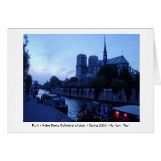 París - Notre Dame en la oscuridad Tarjeta De Felicitación