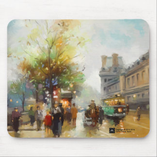 Paris on a Rainy Day Watercolor Painting. Mousepad
