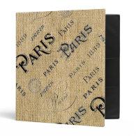 Paris on Burlap Binder