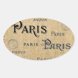 Paris on Burlap Oval Sticker