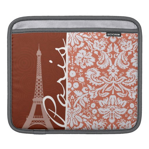 Paris; Orange Damask iPad Sleeve