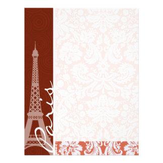 Paris; Orange Damask Letterhead