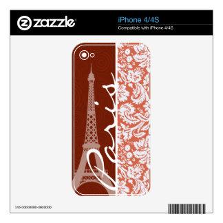 Paris; Orange Damask Skin For The iPhone 4S