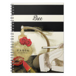 Paris Parfum Perfume Roses Heels & Lipstick Notebook