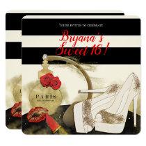 Paris Parfum Perfume Roses Heels & Lipstick Party Invitation