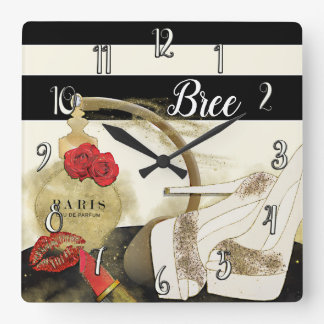 Paris Parfum Perfume Roses Heels & Lipstick Square Wall Clock