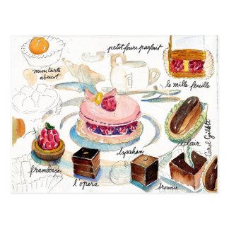 Paris Pastry Sketch watercolor Post Card