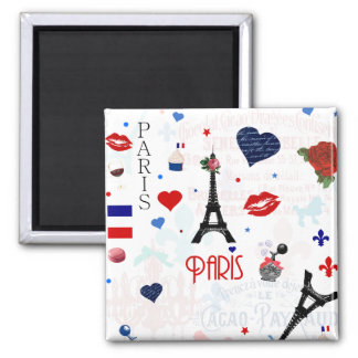Paris pattern with Eiffel Tower 2 Inch Square Magnet