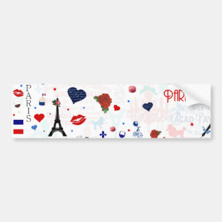 Paris pattern with Eiffel Tower Car Bumper Sticker