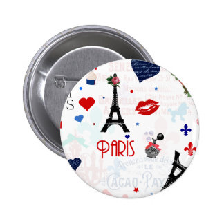 Paris pattern with Eiffel Tower Buttons