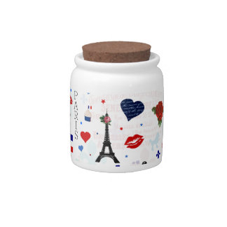 Paris pattern with Eiffel Tower Candy Dishes