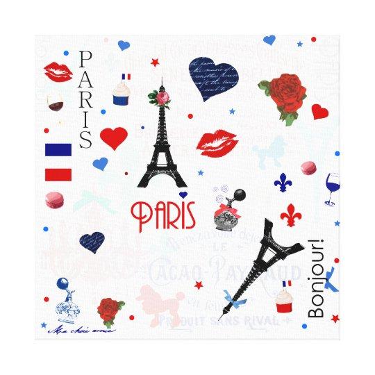 Paris pattern with Eiffel Tower Canvas Print