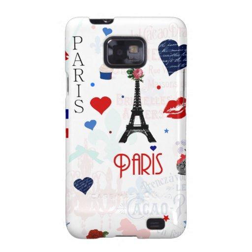 Paris pattern with Eiffel Tower Samsung Galaxy SII Cases