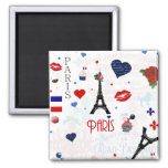 Paris pattern with Eiffel Tower Fridge Magnet