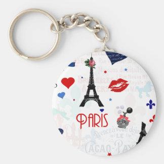 Paris pattern with Eiffel Tower Keychain