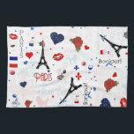 """Paris pattern with Eiffel Tower Kitchen Towel<br><div class=""""desc"""">paris, france, pattern, french, red, white, blue, tricolor, flag, eiffel, tower, &quot;eiffel tower&quot;, rose, lips, &quot;fleur de lis&quot;, fleur, perfume, parfum, girly, girls, ribbon, ribbons, hearts, heart, poodle, poodles, dog, typography, text, writing, collage, vintage, art, girls, feminine, stylish, original, unique, pretty, beautiful, towers, cute, floral, fashionable, fashion, fun, retro, trendy,...</div>"""