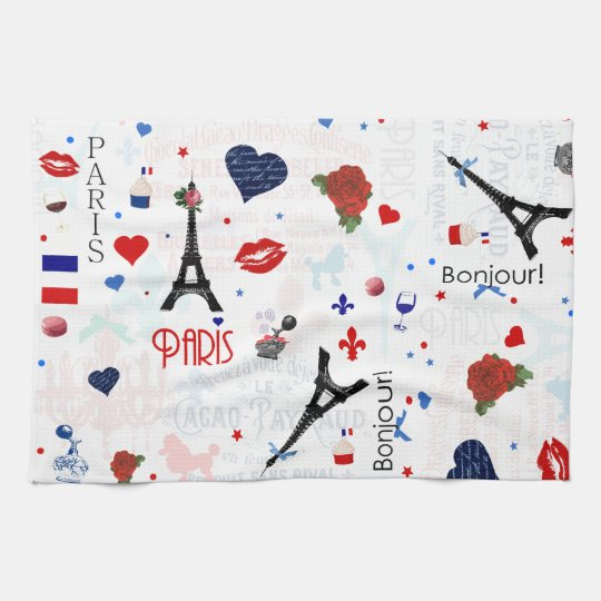 Paris pattern with Eiffel Tower Kitchen Towel