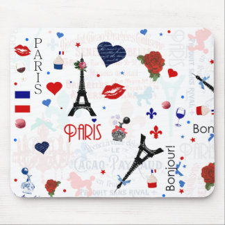 Paris pattern with Eiffel Tower Mouse Pad