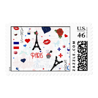 Paris pattern with Eiffel Tower Postage Stamps