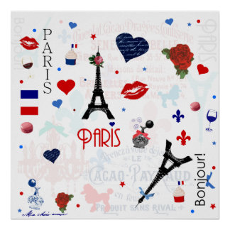Paris pattern with Eiffel Tower Poster