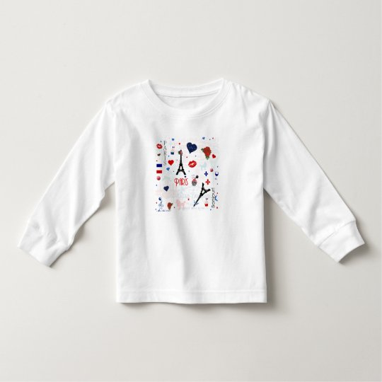 Paris pattern with Eiffel Tower Toddler T-shirt