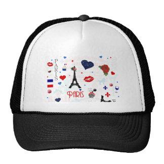 Paris pattern with Eiffel Tower Trucker Hat