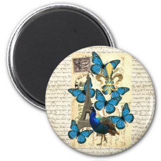 París, pavo real y mariposas imán redondo 5 cm