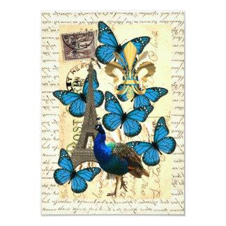 """París, pavo real y mariposas invitación 3.5"""" x 5"""""""