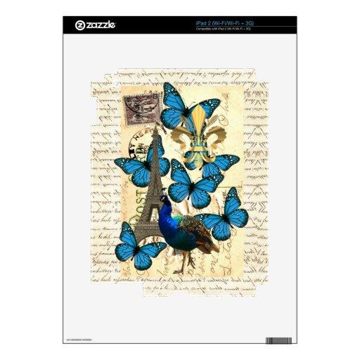 París, pavo real y mariposas iPad 2 calcomanía