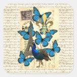 París, pavo real y mariposas pegatinas cuadradases personalizadas
