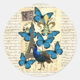 París, pavo real y mariposas pegatina redonda