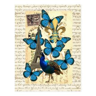 París, pavo real y mariposas postal