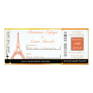 Paris Peach Boarding Pass Wedding Invitation