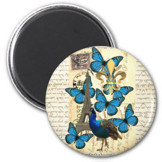 Paris, peacock and butterflies 2 inch round magnet