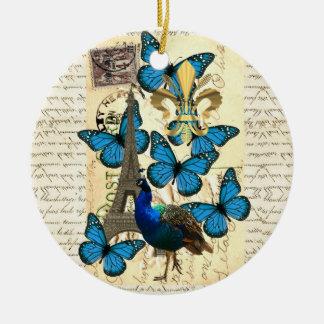 Paris, peacock and butterflies ceramic ornament