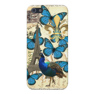 Paris, peacock and butterflies cover for iPhone SE/5/5s