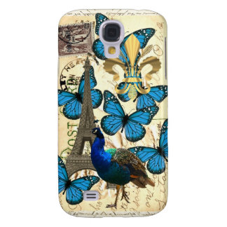Paris, peacock and butterflies galaxy s4 cover
