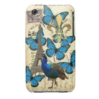 Paris, peacock and butterflies iPhone 3 Case-Mate case