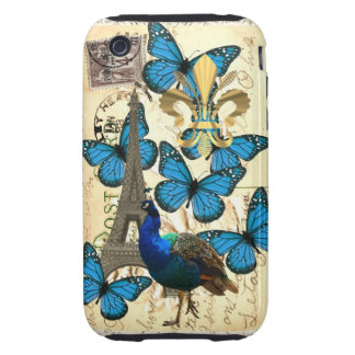 Paris, peacock and butterflies iPhone 3 tough cover