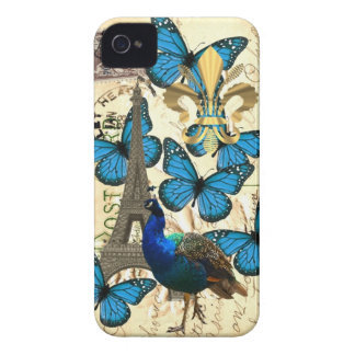 Paris, peacock and butterflies iPhone 4 case