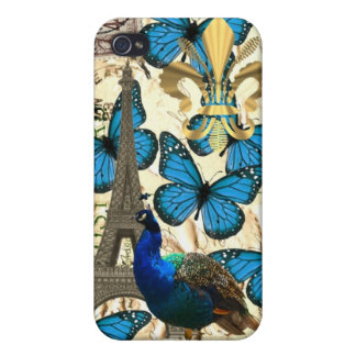 Paris, peacock and butterflies iPhone 4 cases