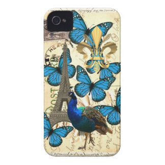Paris, peacock and butterflies iPhone 4 cover