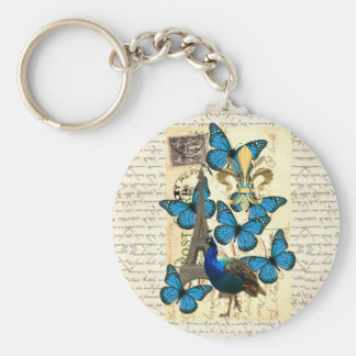 Paris, peacock and butterflies keychain