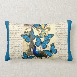 Paris, peacock and butterflies lumbar pillow