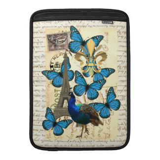 Paris, peacock and butterflies MacBook sleeve