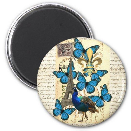 Paris, peacock and butterflies magnet