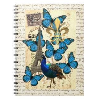 Paris, peacock and butterflies spiral notebooks