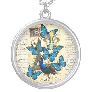 Paris, peacock and butterflies round pendant necklace